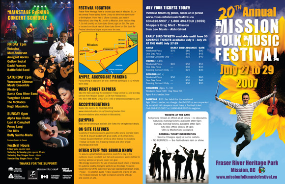Mission Folk Music Festival Brochure